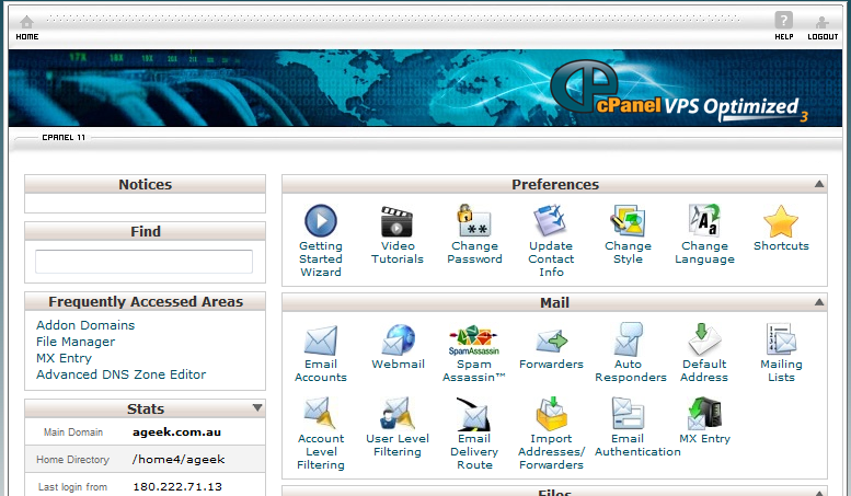 Step 1 The cPanel Home Page
